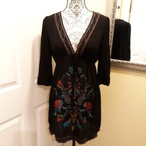XXI Black embroidered design dress